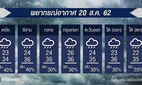 พยากรณ์อากาศ วันอังคารที่ 20สค.62