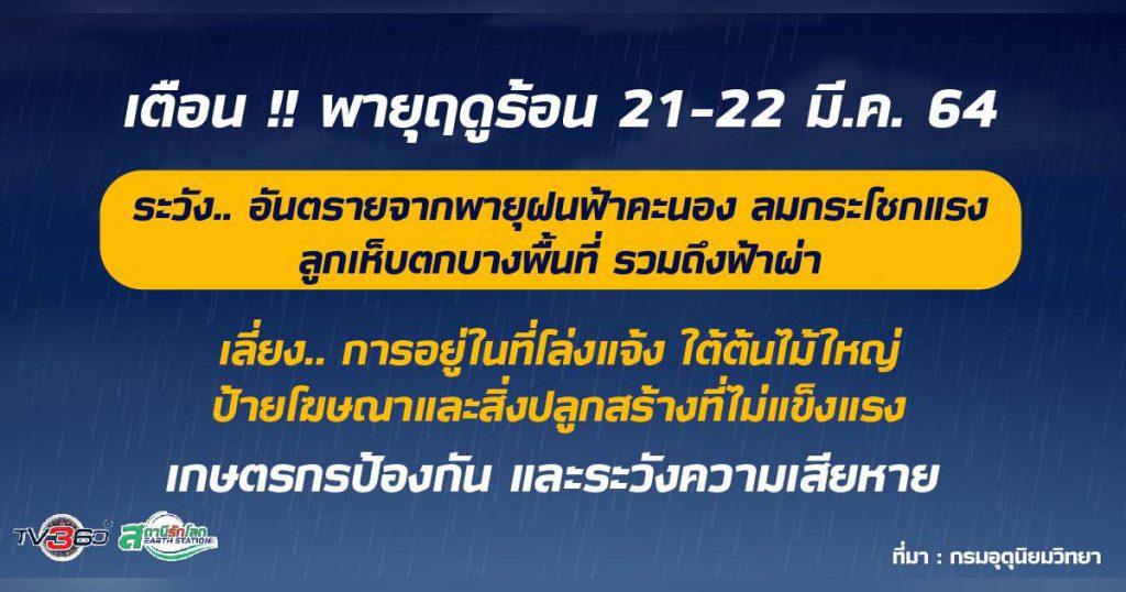 เตือน พายุฤดูร้อน 21-22 มี.ค. นี้ !! ระวัง.. อันตรายจากพายุฝนฟ้าคะนอง ลมกระโชกแรง